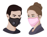 Colorful air pollution face masks set isolated, asian china man and woman wearing medical virus mask, coronavirus protection and healthcare, vector illustration