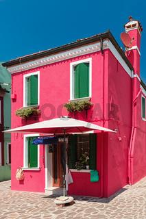 Colorful houses taken on Burano island