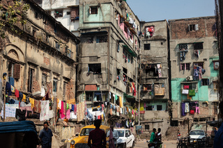 Old town of Calcutta.Laundries are hanged on the wall of the old and dilapidated buildings.