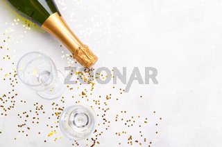 Bottle of Champagne and two glasses