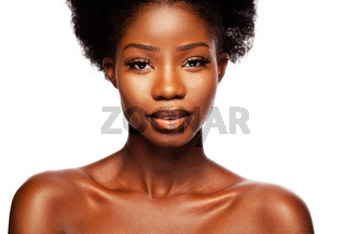 African American beauty woman on a White Background