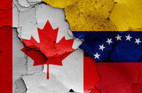flags of Canada and Venezuela painted on cracked wall