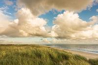 Beach with sand dunes and marram grass, blue sky and clouds in soft orange evening sunset light. Hvidbjerg Strand, Blavand, North Sea, Denmark.