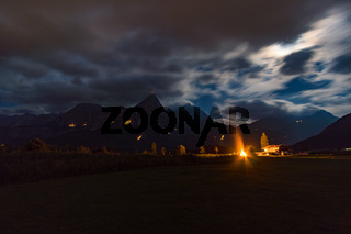 Traditional mountain fire and solstice fire near Ehrwald at the Tiroler Zugspitz Arena