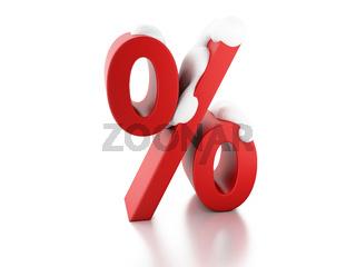 snowy percent sign. Winter Sale concept