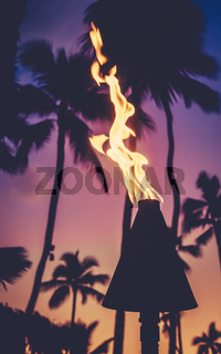 Tiki Torch During Hawaii Sunset