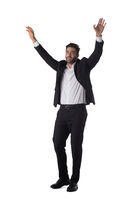 Portrait of business man with arms up
