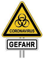 Warnschild Coronavirus