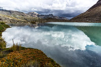 Cordillera Blanca with lake in the Andes of Peru
