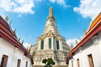 View of Wat Arun on blue sky background