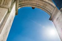Arc de Triomphe on blue sky in Paris