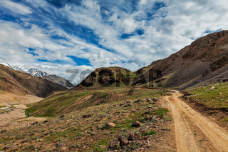 Dirt road in Spiti valley in Himalayas