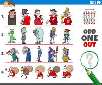odd one out picture game with wild holiday characters