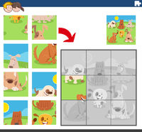 jigsaw puzzle game with funny dogs group