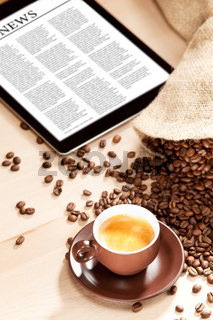 Coffee enjoyment with news on digital media