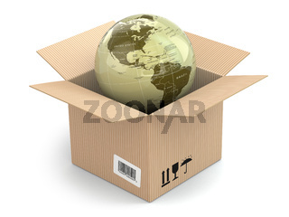 Earth in cardboard box