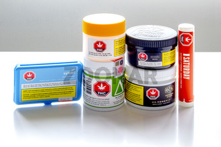 Calgary, Alberta, Canada. Sep 02, 2020. Several Cannabis packages containers of various licensed brands of legal cannabis in Canada.