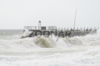 Pier at storm