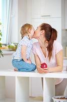 Mutter küsst ihre Tochter auf die Wange