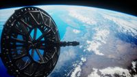 futuristic Space satellite orbiting the earth