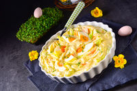 Spring egg salad chives and delicious mayonnaise.