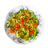 Top View Fresh Salad Plate Isolated Photo