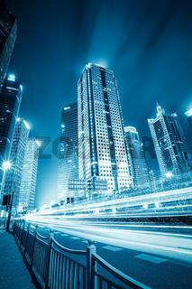 futuristic city with light trails