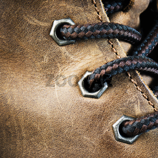 Brown leather shoe, close-up
