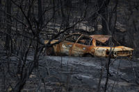 Old abandoned car burnt out during bush fires