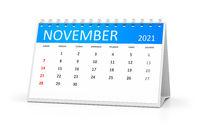 table calendar 2021 november