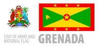 Vector set of the coat of arms and national flag of Grenada