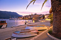 Korcula beach and coastline colorful evening view
