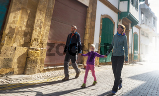 Family in old town