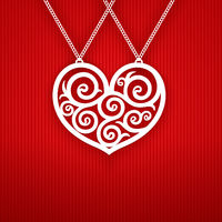 Valentines Day Heart on Red Background.