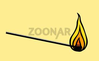 a burning match symbol illustration