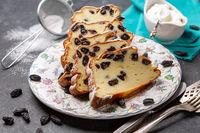 Homemade cottage cheese casserole with vanilla and raisins.