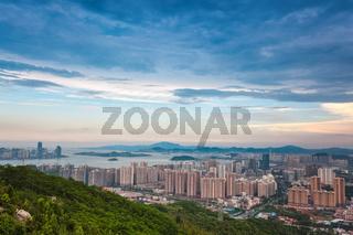 beautiful coastal city of xiamen at dusk
