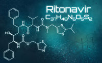 Chemical formula of Ritonavir on a futuristic background