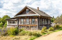 Old abandoned rural wooden house in russian village