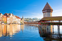 Luzern wooden Chapel Bridge and tower panoramic view