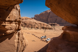 Offroad vehicle in Wadi Rum desert, Jordan