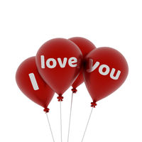 Shiny red balloons with the words I love you