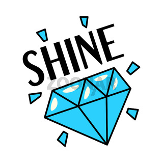 Shining blue diamond gemstone retro style sticker patch badge with text, flat style vector illustration isolated on white background.