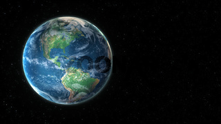 3D visualization of planet earth from outer space