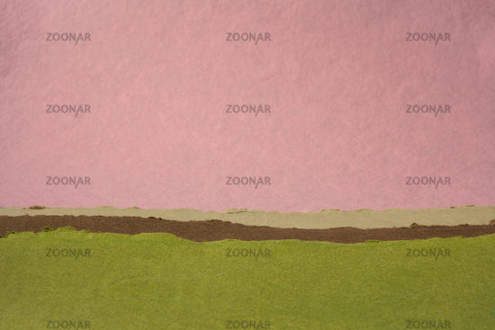 green and pink abstract landscape created with handmade paper