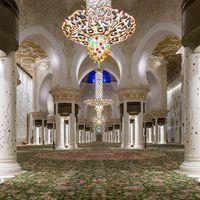 Magnificent interior of Sheikh Zayed Grand Mosque, Abu Dhabi, UAE