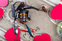 Fishing tackles, lines and reel with spring decoroation