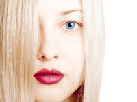 Beauty face close-up of young woman, blonde hair and chic make-up for skincare and haircare brand