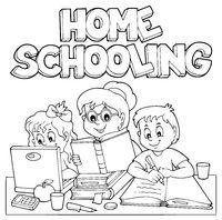 Home schooling monochrome image 1