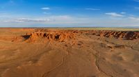 Bayanzag flaming cliffs in Mongolia